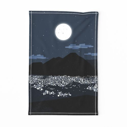 Caracas at Night Tea Towel M+M Navy Blue by Friztin