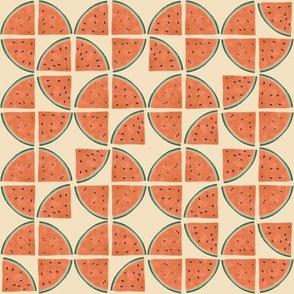 Geometric Watermelon- Cream