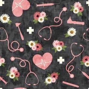 floral nurse melody - nursing - syringe, ekg, stethoscope -  grey and pink - LAD19