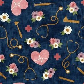 floral nurse melody - nursing - syringe, ekg, stethoscope -  blue - LAD19