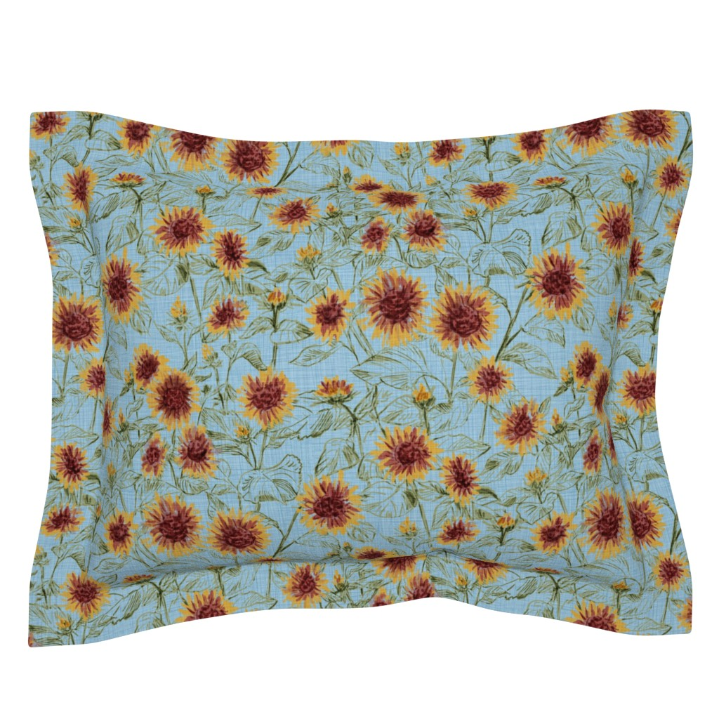 "Sebright Pillow Sham featuring Blazing Sunflower Meadow (sage-dusty blue) 18"" by helenpdesigns"
