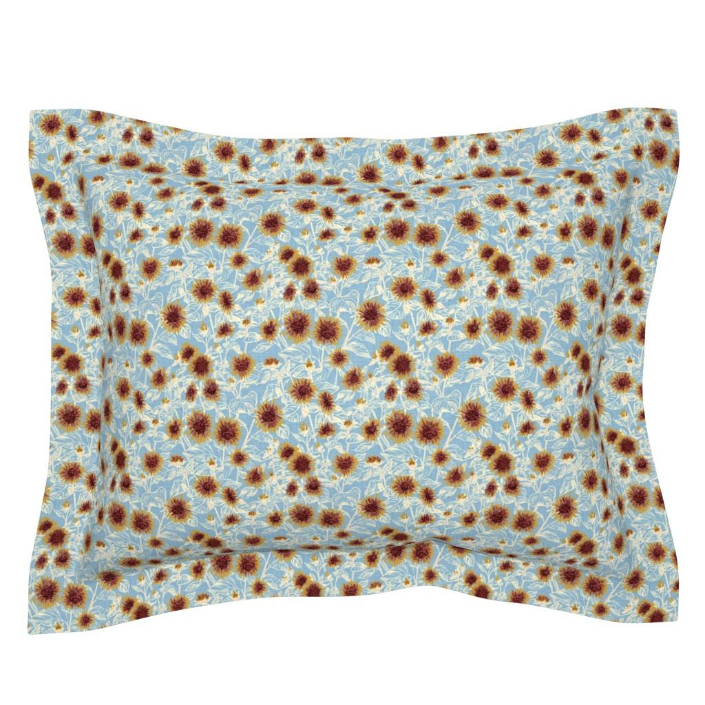 "Sebright Pillow Sham featuring Blazing Sunflower Meadow (vanilla-dusty blue) 8"" by helenpdesigns"
