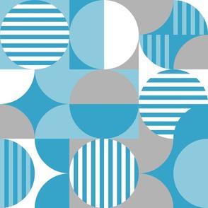 modern geometric Bauhaus, blue, gray, white