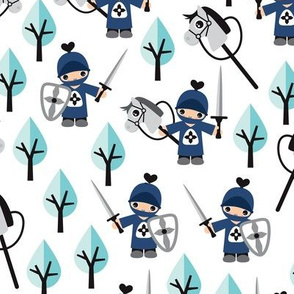 Cute boys knights horse and sword kids woodland fantasy theme navy blue mint
