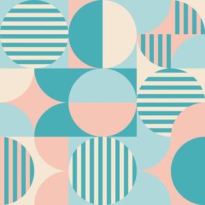 mid century bauhaus, pink, blue, turquoise, cream