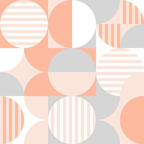 modern geometric Bauhaus pale peach, gray, white