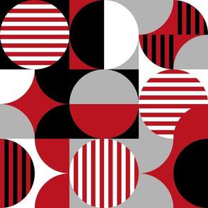 modern geometric Bauhaus, red, black, gray, white