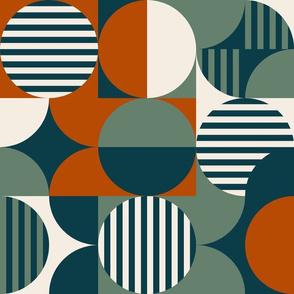 modern geometric Bauhaus, teal, burnt orange, olive, cream