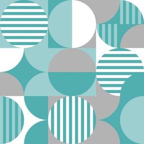 modern geometric Bauhaus, teal, turquoise, gray white