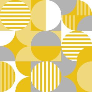 Modern Geometric Bauhaus, Mustard Yellow and Gray