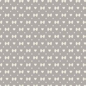 Polka Dot Heart Pastas - Grey/Ivory