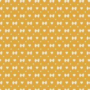 Polka Dot Heart Pastas - Mustard/Ivory