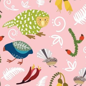 Scandi New Zealand Birds Pink