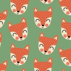 Happy scandi foxes on woodland green