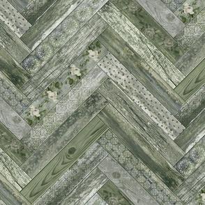 Vintage Wood Chevron Tiles Herringbone Olive Green Cream Grey