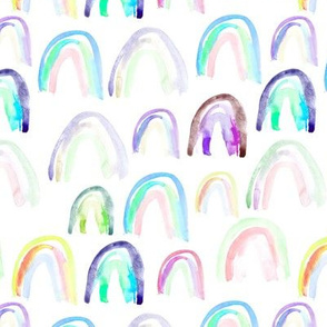 Watercolor rainbows • aqua and purple shades • colorful painted design for nursery