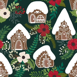 Gingerbread Houses and Christmas Florals - Green Background - Green Background