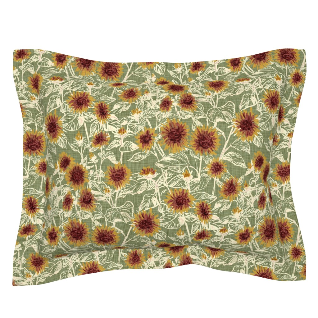 "Sebright Pillow Sham featuring Blazing Sunflower Meadow (vanilla-sage) 18"" by helenpdesigns"