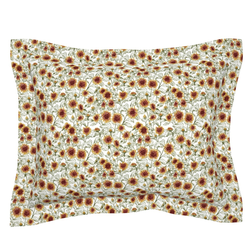 """Sebright Pillow Sham featuring Blazing Sunflower Meadow (sage-white) 8"""" by helenpdesigns"""