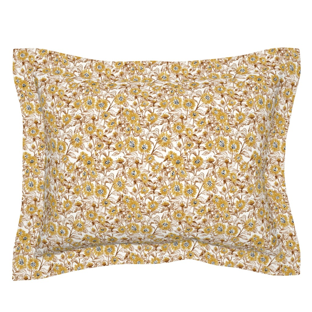 "Sebright Pillow Sham featuring Golden-Bronze Sunflowers (white ) 8"" by helenpdesigns"