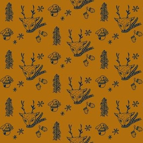 Woodland Christmas tan & navy