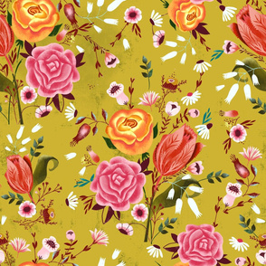roses on gold chintz
