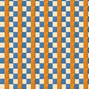 Woven Blue Orange Check