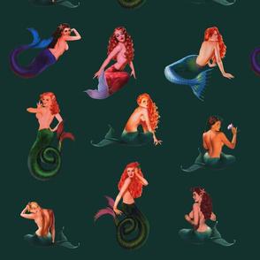 Mermaids on Deep Green