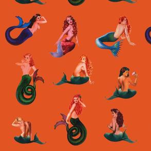 Mermaids on Orange