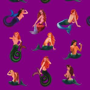 Mermaids on Deep Magenta