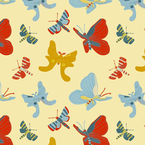 Bright Butterflies - Cream