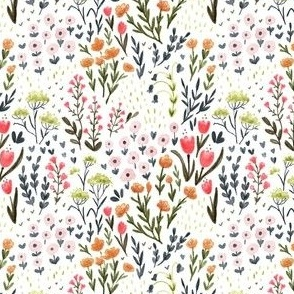 Meadow Patch - Watercolor Floral - Small Scale Ditsy