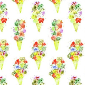 Banana-strawberry ice cream cones ll watercolor sweets