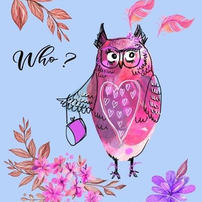 Pink Lady Owl on blue