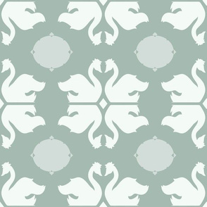 Swan Shapes with Ovals on Pastel Green seamless pattern background.