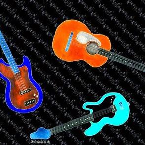 Watercolor Guitars on Black