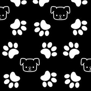 Puppy Paws on Black Background