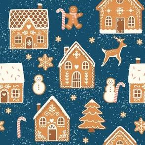 Gingerbread Village on dark blue