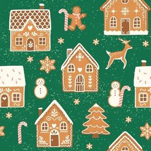 Gingerbread Village on dark teal
