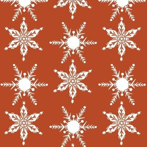 Mid Century Snowflakes rust_white
