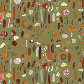 Charcuterie platter on moss