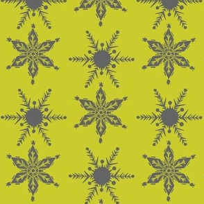 Mid Century Snowflake_grey and chartreuse