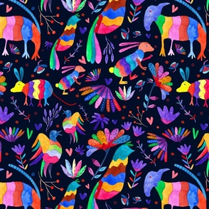 Otomi animals and flowers colorful black background
