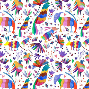 Otomi animals and flowers colorful white background