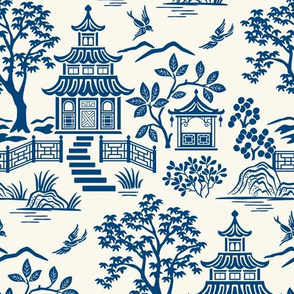 Chinoiserie Pagoda Blue on White