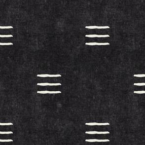 triple dash - mud cloth - onyx - mudcloth farmhouse tribal - LAD19