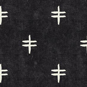 double cross - mud cloth - onyx- mudcloth tribal - LAD19