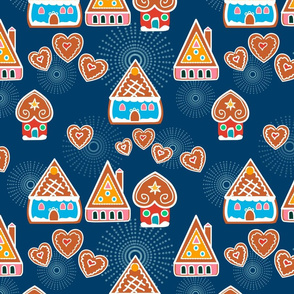 Gingerbread Houses blue