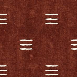 triple dash - mud cloth - rust - mudcloth farmhouse tribal - LAD19