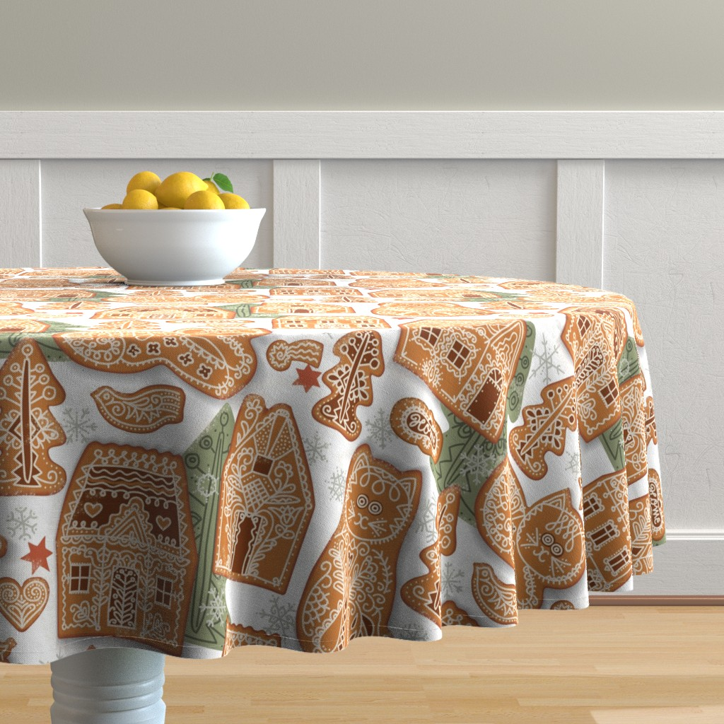 Malay Round Tablecloth featuring Gingerbread Cats and Houses by boszorka